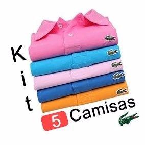 Kit 5 Camisas Camisetas Lacost Gola Polo P M G Gg
