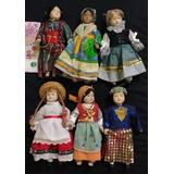 Lote De 6 Muñecas Porcelana Con Trajes Tipicos De Paises