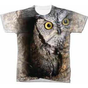 Camisa Camisetas Blusa Manga Curta Animal Moda Coruja 03