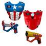 2 Colete + 2 Lança Laser Marvel Capitão América X Iron Man