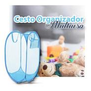 Cesto Multiuso Organizado Roupa Suja Dobrável Brinquedo Azul