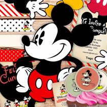 Kit Imprimible Mickey Mouse Vintage + Deco Para Torta !!