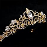 Tiara Arranjo Coroa Noiva Noivado Metal Cristais Dourada