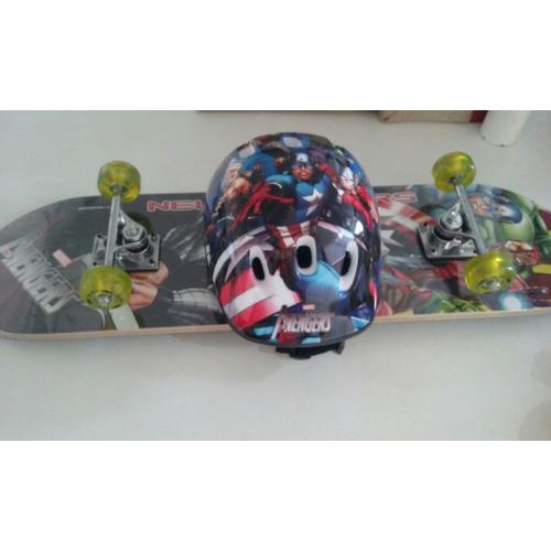 Skate Infantil Vingadores + Kit Seguran?a - Top Excelente