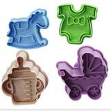 Kit Cortadores Ejetores Coisas Bebê Pasta Americana Biscoito