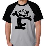 Camiseta Raglan Blusa Camisa Gato Félix Desenho Quadrinhos