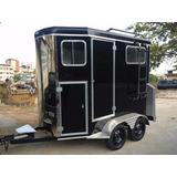 Carretinha De 2 Cavalo Luxo Black (nova) Trailer Reboque