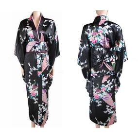 Kimono Japones Negro Con Flores Unitalla
