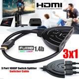 Cable Hdmi 1080p Splitter Switcher Hub Dvd Hdtv Ps4 3 En 1