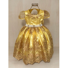 Vestido Infantil Festa Amarelo Com Dourado Princesa Daminha