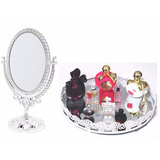 Kit Bandeja Espelhada P/ Perfume + Espelho Grande Maquiagem