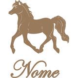 Aplique Parede Cavalo Com Nome Mdf Cru Country Painel Festas
