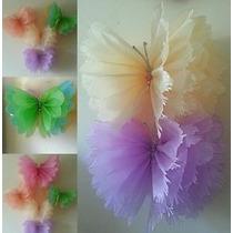 Flores Mariposas Pompones De Papel Fiestas Decoracion