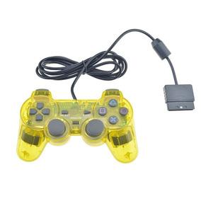 Controle Ps2 Transparente Com Fio Joystick Ps2 Amarelo