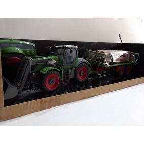 Trator Com Pá Carregadeira Com Reboque R/c 8ch Kit Fazenda