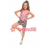 Conjunto Menina Infantil Brandili Turma Da Monica Tam 4 6 8