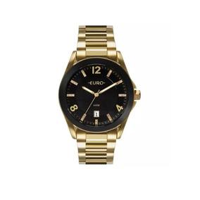 f5d806b32de Relógio Euro Lier Aro Preto dourado Eu2036ap 4p Masculino Pulso ...