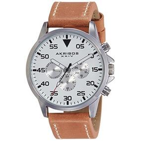 Akribos Xxiv Reloj De Hombre De Plata Ak773ssbr Con Banda