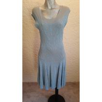 Vestido Nuevo Azul Con Gris Talla Mediana Maria Isabel