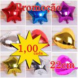 Balão Metalizado Estrela Coração 22cm Decoração