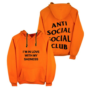 Sudadera Antisocial Social Club Supreme Naranja-rosa-blanco