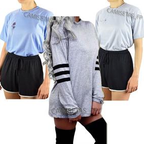 Kit 3 Camiseta Feminina Casual Estilosa Discreta Tumblr Moda