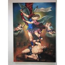 Pintura Oleo Original San Miguel Arcángel Mtro Leon