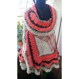Ruana Capa Tejida Artesanal Telar Crochet Algodon Unico