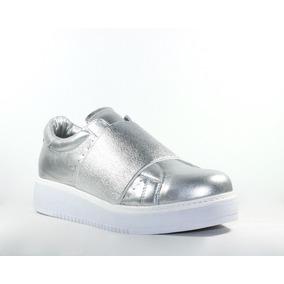 Zapatillas Sneakers Mujer Acordonadas Y Elastico 100% Cuero