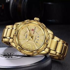 Relógio Masculino Naviforce 9117 Pulseira Couro Promoção Top