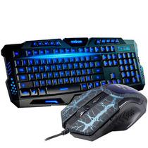 Teclado Gamer Iluminado + Mouse Multímidia 3200 Dpi Jogos Pc