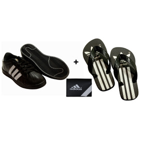 Kit Tenis adidas Super Star + Carteira adidas + Chinelo Dedo