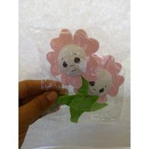 24 Flores Rosa Claro Carita Foami 3d Decorar Remate