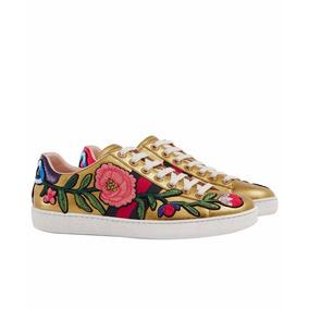 Sapato Tenis Gucci Ace Embroired Dourado Couro Feminino