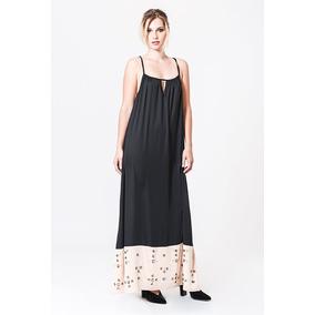Vestido Basilotta Dama Largo Combinado - Envío Gratis