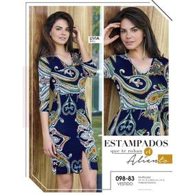 Vestido Midi Cklass Azul Multicolor Manga 3/4 Talla S. 09883