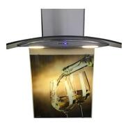 Campana Cocina Cristal Curvo 60cm Acero + Vidrio Decorativo