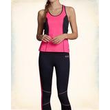 Camiseta Fitness Hollister Esportiva Regata Rosada Sport