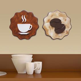 Quadros Decorativos Cozinha Café 20cm Pintura Mdf(2unidades)