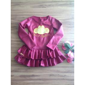 Vestido Infantil Manga Longa Tamanhos 3,4 E 6 +frete Grátis