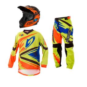 Conjunto Kit Motocross Trilha Insane 4 Infantil Enduro