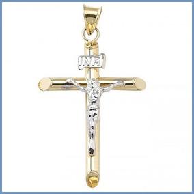 G C- Dije Crucifijo Mod. Saint En Oro Solido 14k Cruz