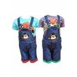 Kit Tigor Jardineira Bermuda Jeans + Camiseta Infantil =)