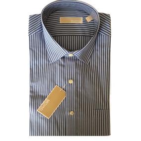 Camisa Social Masculina Michael Kors Azul Listrada G