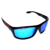 Óculos Polarizado Polaroid Tp001 Preto/vermelho Lente Azul