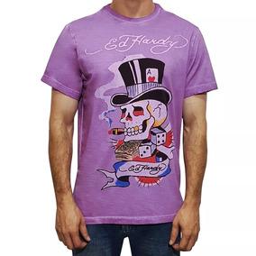 Camiseta Tshirt Ed Hardy Christian Audigier Masculino Lilás