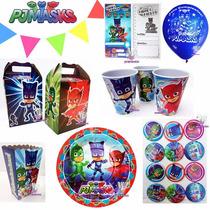 Fiesta Pj Masks Platos Dulceros Vasos Globos Héroes Pijamas