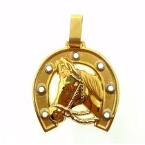 Pingente Cavalo Em Ouro 18k/750 Ferradura 5 Gramas