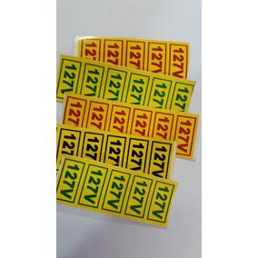 Sinalização Tomada Voltagem 110 Volts Adesivo Tomadas 10 Un