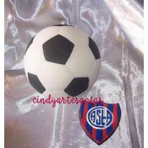 Adorno De Torta Futbol Pelota Con Escudo 13 Cm Porcelana